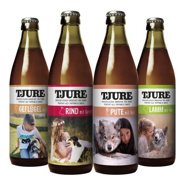 """Tjure """"All in One 4 x 320 ml für Hunde - Alle 4 leckeren Sorten im Vorteilspaket"""